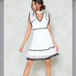 Nasty Gal • Lace Choker Ruffle Mini Dress NWT